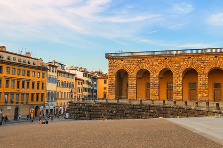 florentine: FLORENCE, ITALY - MAY 08, 2014: Tourists on a sloping square before the Palace Pitti in evening  Florence