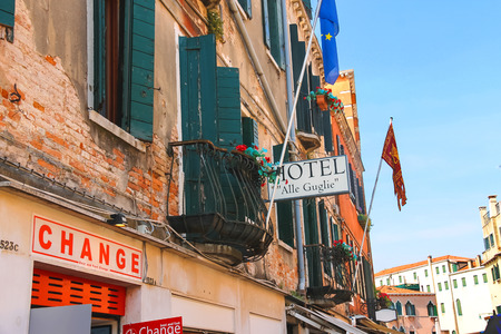 VENICE, ITALY - MAY 06, 2014: Facade of the hotel Alle Guglie in Venice, Italy