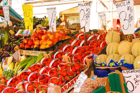 the merchant of venice: VENICE, ITALY - MAY 06, 2014: Fruit and vegetable in the market of  Venice, Italy