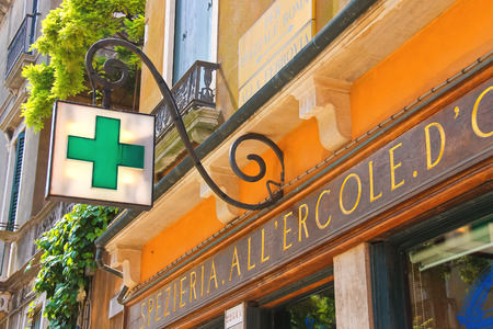 VENICE, ITALY - MAY 06, 2014: Pharmacy building in Venice, Italy