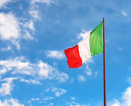 eu flag: Flag of Italy against the blue sky