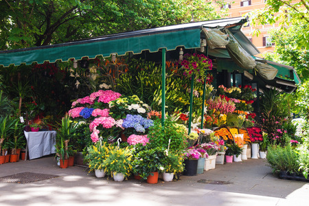 Shop on sale of flowers in the Italian city