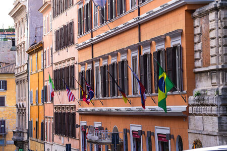 ROME, ITALY - MAY 04, 2014: Flags on a facade the hotel Anglo Americano in Rome, Italy