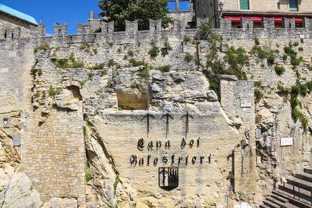 arbalest: SAN MARINO. SAN MARINO REPUBLIC - AUGUST 08, 2014: Cava dei Balestrieri - quarry crossbowmen in San Marino. The Republic of San Marino