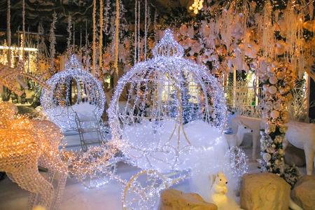 Taneto, Italy - December 22, 2014: Great Cristmas market Villaggio di Babbo Natale in the garden center Mondoverde. Taneto, Italy Editorial
