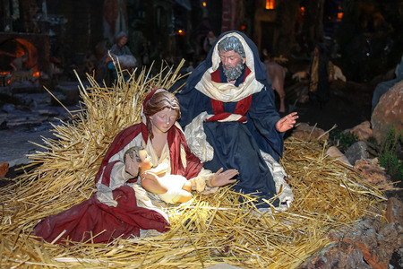 virgin mary mother of god: Christmas scene of Jesus Christ, Mary and Josef