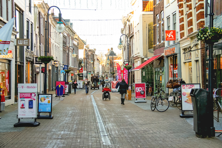 Gorinchem, Netherlands - January 17, 2015: People  in the Dutch town Gorinchem.