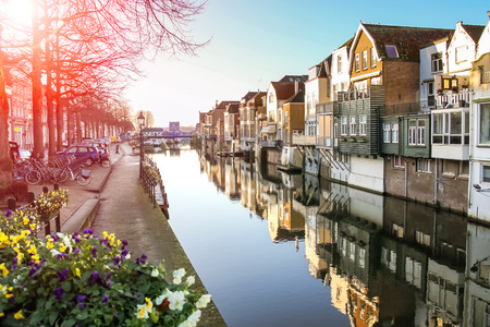 Port and canal embankment in the Dutch town of Gorinchem photo