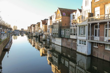 gorinchem: Port and canal embankment in the Dutch town of Gorinchem