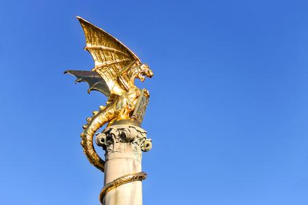 blue dragon: Dragon fountain in the Dutch city of Den Bosch Stock Photo