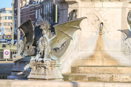 water wings: Dragon fountain in the Dutch city of Den Bosch Stock Photo