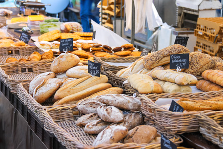 Selling bread on the Dutch market, the Netherlands Stock Photo