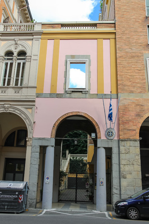 15 18: Bologna, Italy - August 18, 2014: Building Consulate of Greece in Italy. June 15, 2014 activists of Initiative for freedom of movement and the right to choose, was captured and occupied by this Consulate