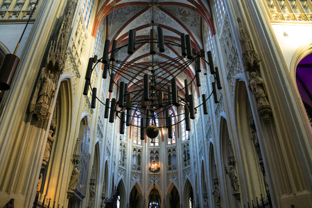 den: Den Bosch, Netherlands - January 17, 2015: Chandelier  in the cathedral Dutch city of Den Bosch