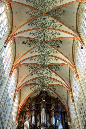 den: Den Bosch, Netherlands - January 17, 2015: Colorful ceiling in the cathedral the Dutch city of Den Bosch