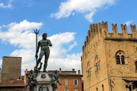 italian fountain: Neptune fountain in the Piazza Maggiore in Bologna, Italy