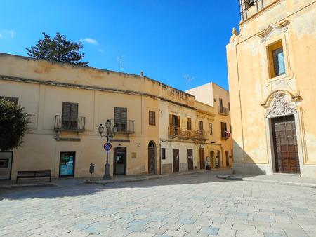 egadi: The church on the Piazza Matrice in Favignana Editorial