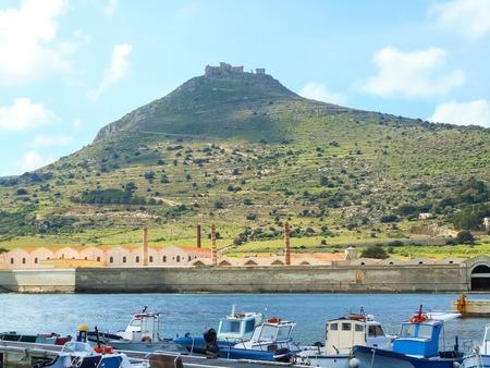 egadi: Favignana harbor in the early spring, Sicily