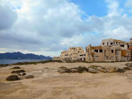 favignana: Abandoned building on the Mediterranean coast in Sicily