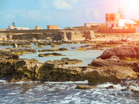 favignana: A view of a rocky shore of a Sicily island Stock Photo
