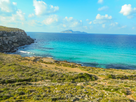 favignana: The turquoise waters of the picturesque bay. Favignana