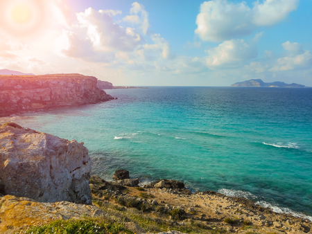 egadi: The turquoise waters of the picturesque bay. Favignana