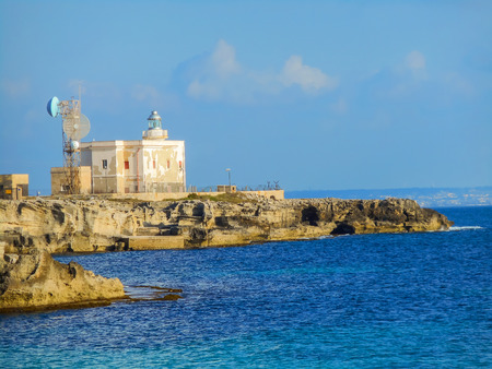 levanzo: Building the radio station and lighthouse. Favignana