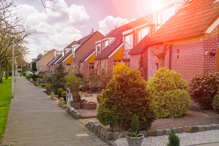 dutch typical: Picturesque houses on a city street in Meerkerk, Netherlands