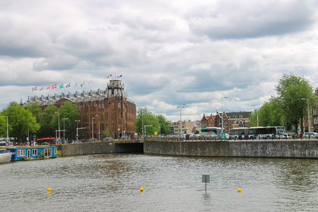 cruiseboat: Amsterdam, Netherlands - June 20, 2015: City views in the center of Amsterdam Editorial