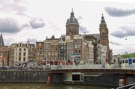 Amsterdam, Netherlands - June 20, 2015: City views in the center of Amsterdam Editorial