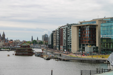 nemo: Amsterdam, Netherlands - June 20, 2015: City view from the lookout on the roof of museum Nemo in Amsterdam