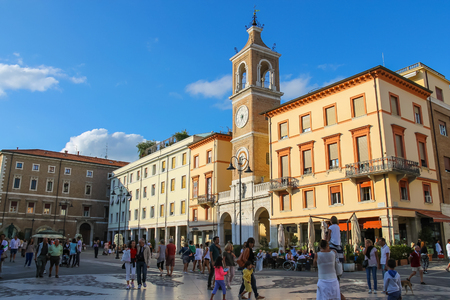 martiri: Rimini, Italy - August 16, 2014: Tourists walking on Tre Martiri square (Piazza Tre Martiri)