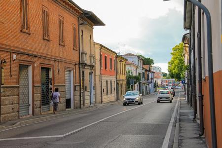 rimini: Rimini, Italy - August 16, 2014: Traditional narrow street in the historic center of Rimini