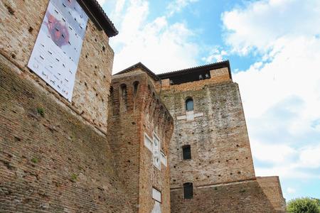 rimini: Rimini, Italy - August 16, 2014: Walls of medieval Sigismondo Castle (Castello Sidzhizmondo) in Rimini, Italy.