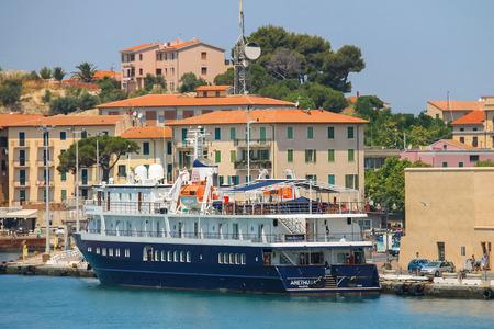 berth: Portoferraio, Italy - June 30, 2015: Passengers ship Arethusa at berth in Portoferraio. It is the largest city and main harbour on Elba island.