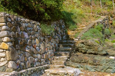 tyrrhenian: Stone stairs on the coast of the Tyrrhenian Sea, Marciana Marina on Elba Island, Italy