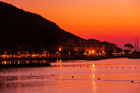 tyrrhenian: Coast of the Tyrrhenian Sea on sunset. Marciana Marina, Elba Island, Italy