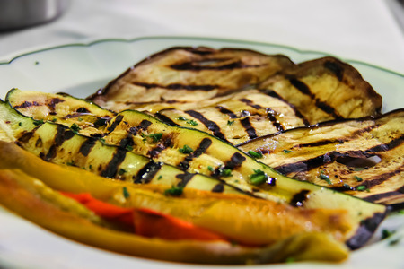 grilled vegetables: Plate with grilled vegetables in traditional Italian restaurant Stock Photo
