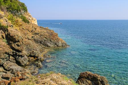 tyrrhenian: The coast of the Tyrrhenian Sea, Marciana Marina on Elba Island, Italy Stock Photo