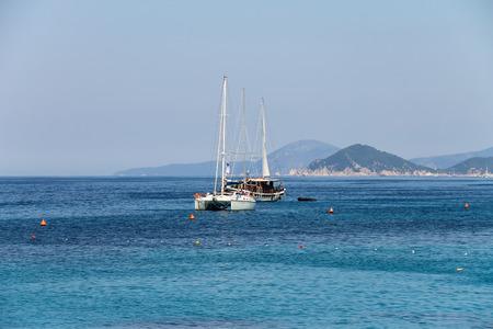 tyrrhenian: Anchored sailboats in waters of Tyrrhenian Sea, Sant Andreas on Elba Island, Italy