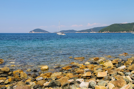 tyrrhenian: Sailing yacht in Tyrrhenian Sea on Elba Island, Tuscany, Italy