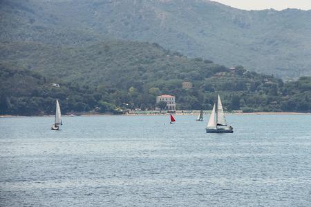 tyrrhenian: Elba Island, Italy - June 30, 2015: Sailing yachts in Tyrrhenian Sea, region of Tuscany Editorial