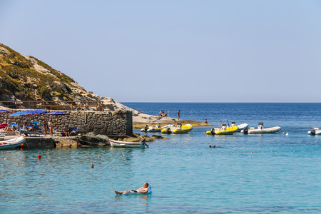 tyrrhenian: St Andreas, Italy - July 01, 2015: People on the coast of Tyrrhenian Sea, Sant Andreas on Elba Island, Italy