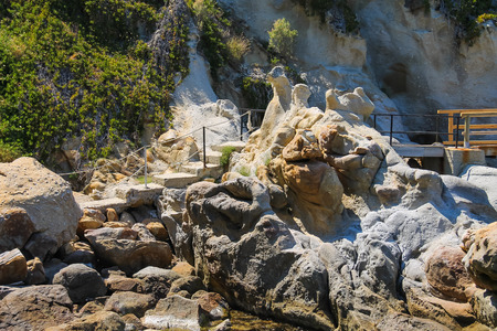 tyrrhenian: Stairs in the stones on the coast of Tyrrhenian Sea, Sant Andreas on Elba Island, Italy Stock Photo