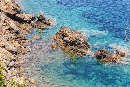 tyrrhenian: Coast of Tyrrhenian Sea on Elba Island, region of Tuscany, Italy Stock Photo