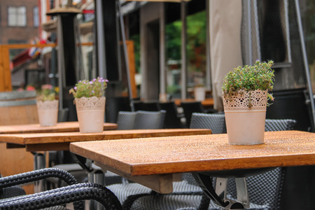 Pots With Decorative Plants On The Tables Of Outdoor Street Cafe Stock  Photo   52753778