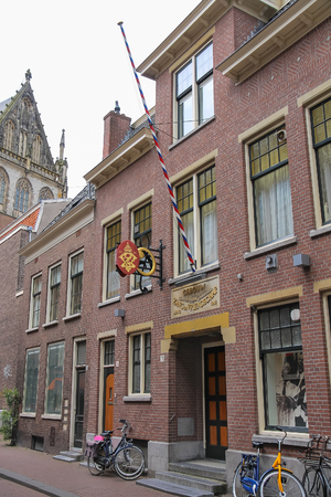 choral: Haarlem, the Netherlands - June 20, 2015: Facade of old building (Zang en Vriendschap concert and rehearsal hall) on Jansstraat street in the historic city centre