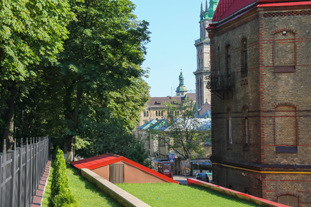hill station tree: Lviv, Ukraine - July 4, 2014: View of Main Department Ministry of Emergencies (fire station) Editorial
