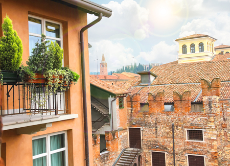 juliets: In the courtyard of Juliets house. Verona, Italy Stock Photo
