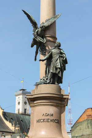 publicist: Adam Mickiewicz Monument in historic city center. Lviv, Ukraine